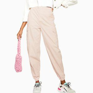 TOPSHOP Cuffed Pink Utility Cargo Jeans High Rise